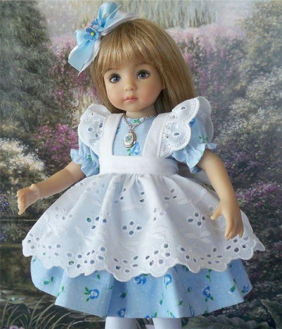 "**Blue Heaven** Dress, Outfit for 13"" Dianna Effner Little Darling Dolls:"