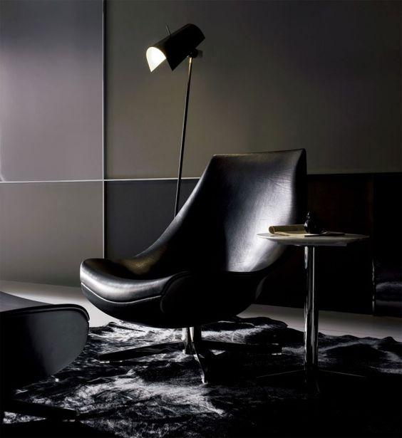 Relax-Sessel Leder Polster-Modern Form-Sitz Armlehnen Bodenleuchte