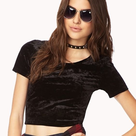 Black Enchanted Velvet Crop Top Black Enchanted Velvet Crop Top. In great condition just a little linty (will need little lint rolling). Worn twice! Forever 21 Tops Crop Tops