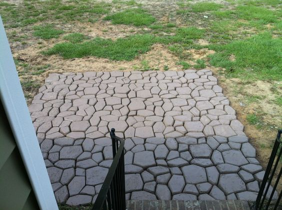 Diy patio made from a country stone quikrete mold and for Walk maker ideas