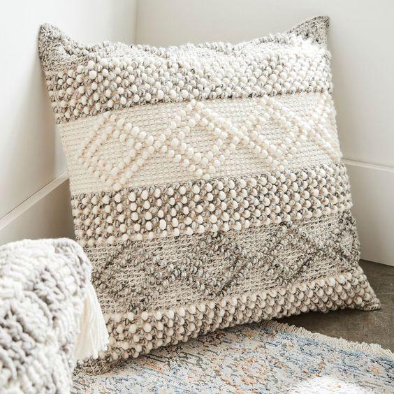 Magnolia Home Joslin Gray & Ivory Oversized Pillow | Pier 1 Imports