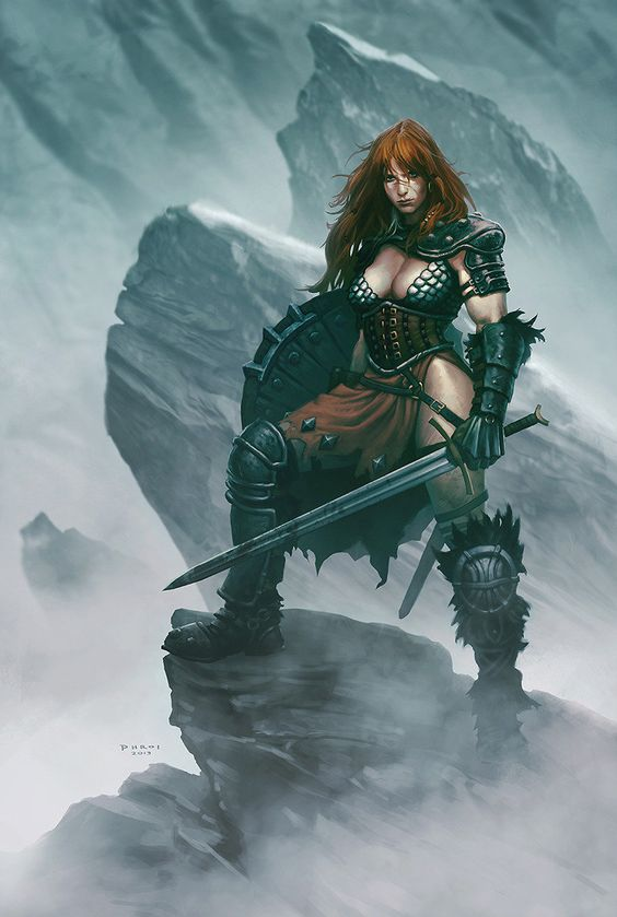 Red Sonja, Phroilan Gardner on ArtStation at https://www.artstation.com/artwork/red-sonja-a1fa9d06-4063-462c-8703-9e3bde6a86c0