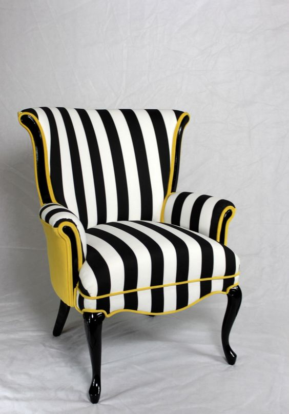 Black and white stripe chair with yellow velvet. Vintage wing back chair mid century modern chair. Element 20 designs: