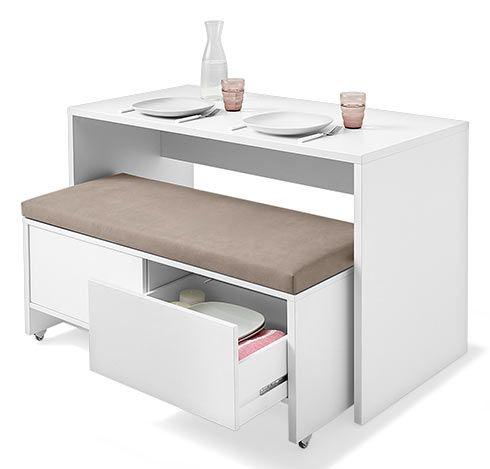 Stauraum, Sitzplatz und Ablagefläche in Einem! Eine Tolle Idee für kleine Küchen.
