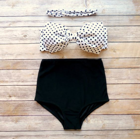 Bow Bandeau Bikini - Vintage Style High Waisted Pin-up Swimwear -  Black and White Polka Dot - Unique & So Cute! on Etsy, $49.00