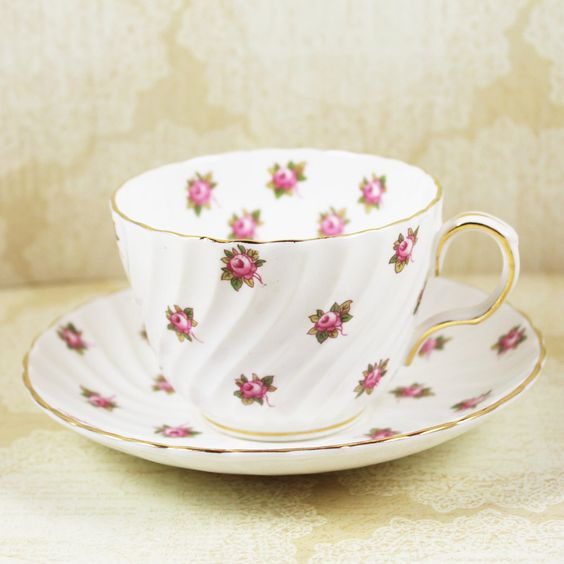 Vintage Aynsley Rosedale English Bone China Tea Cup and Saucer by scdvintage on Etsy