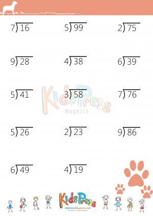 math worksheet : divide 2 digit dividend by 1 digit divisor with remainders  : 2 Digit Divisor Division Worksheets