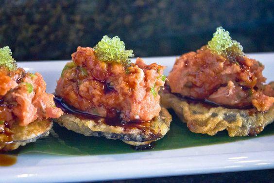 Spicy tuna over crispy eggplant