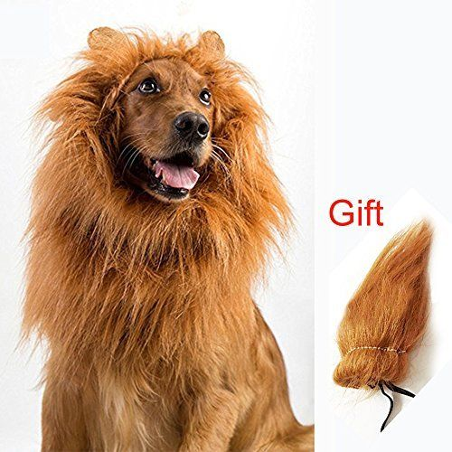 Yisong Dog Lion Mane With Extra Tail Large Dog Costume Halloween