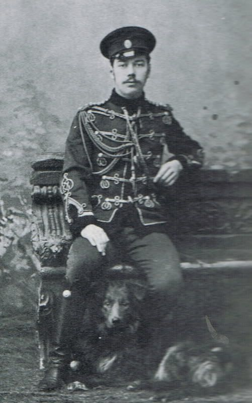 Tsarevich Nicholas II (1868 – 1918) of Russia when the heir to the throne, when he was a cadet, with his dog.