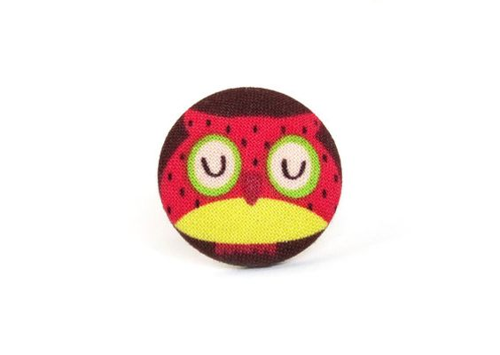 Owl ring, bird ring, large fabric ring, big button ring by KooKooCraft €10.00 #ring #jewelry #owl