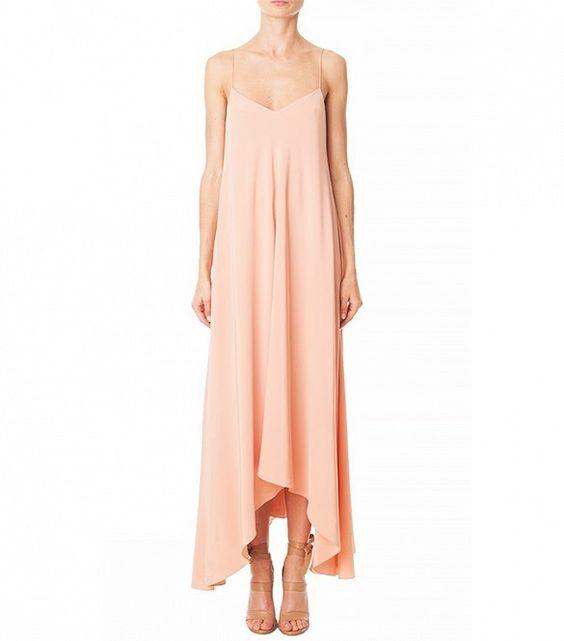 Tibi Silk Handkerchief-Hem Dress in Momo Peach