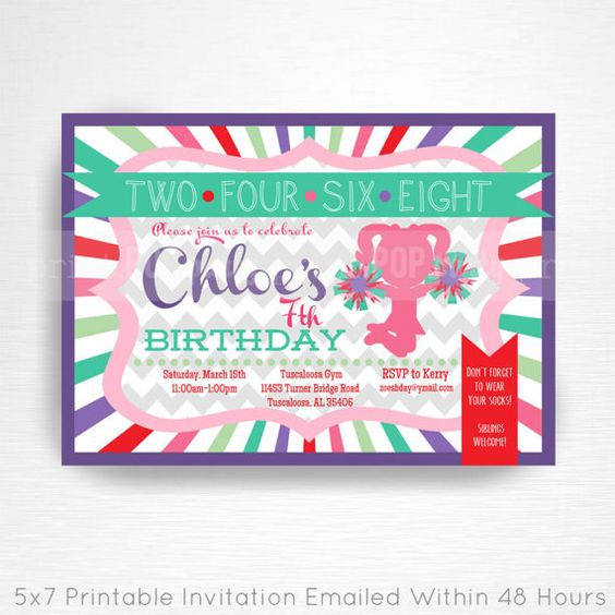 Cheerleader Party Printable Invitation YOU Print Cheer Party Purple Mint Pink Red  This is an emailed file, nothing will be shipped to you. Please include your childs name, age and party details in the notes to seller section at checkout.  We will email your high-resolution, print-ready file within 48 hours of receiving your party details and photo (if photo invitation has been purchased please email your photo to amy [at] printpopparty.com).  Your invite will be formatted to print 5x7…