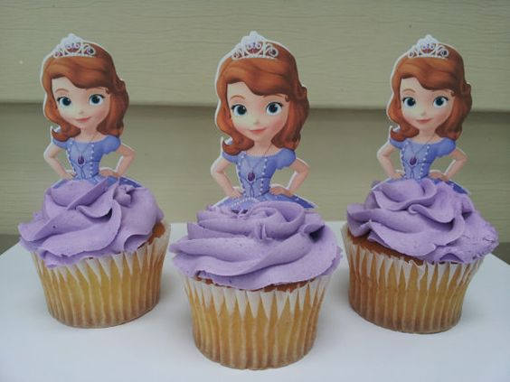 12 Sophia the first cupcake toppers by diapercake4less on Etsy, $8.25 - Sophia the First Birthday Party Inspiration