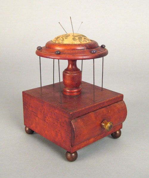 Pennsylvania bird's-eye maple sewing box, mid 19th c., with pin cushion, 6.5 H. x 4.5 W.: