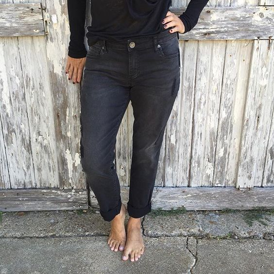 We love our new black Catherine boyfriend distressed jean!  These are the perfect closet staple for this fall! #kutfromthekloth #fallfashion #shopjuneandbeyond #casual #essentials #musthaves