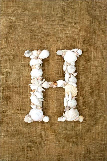 seashell letter monogram.