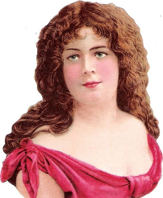 Oblaten Glanzbild scrap die cut chromo Dame lady head Kopf portrait buste Frau: