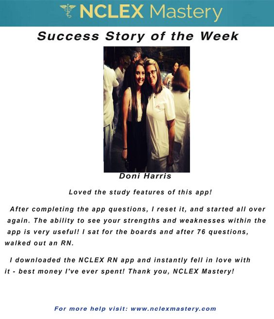 Doni Harris is our #NCLEX Mastery Success Story of the Week. Congratulations on passing your NCLEX, and becoming a #nurse. We're glad we could help play a part in you achieving your dreams! If you want to know how Doni passed or if you need help on your NCLEX studies visit: www.nclexmastery.com.