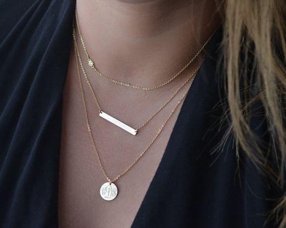 Ensemble de collier en couches, délicats colliers couches or, collier de diamants CZ