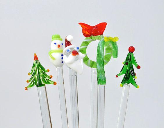 6 Vintage Christmas Swizzle Sticks Drink Stirrers