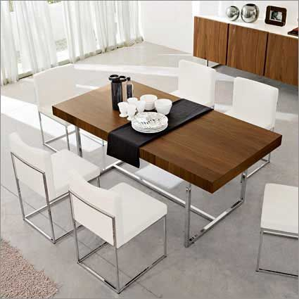 Calligaris Modern Rectangular Dining Table With Sturdy Chrome Legs