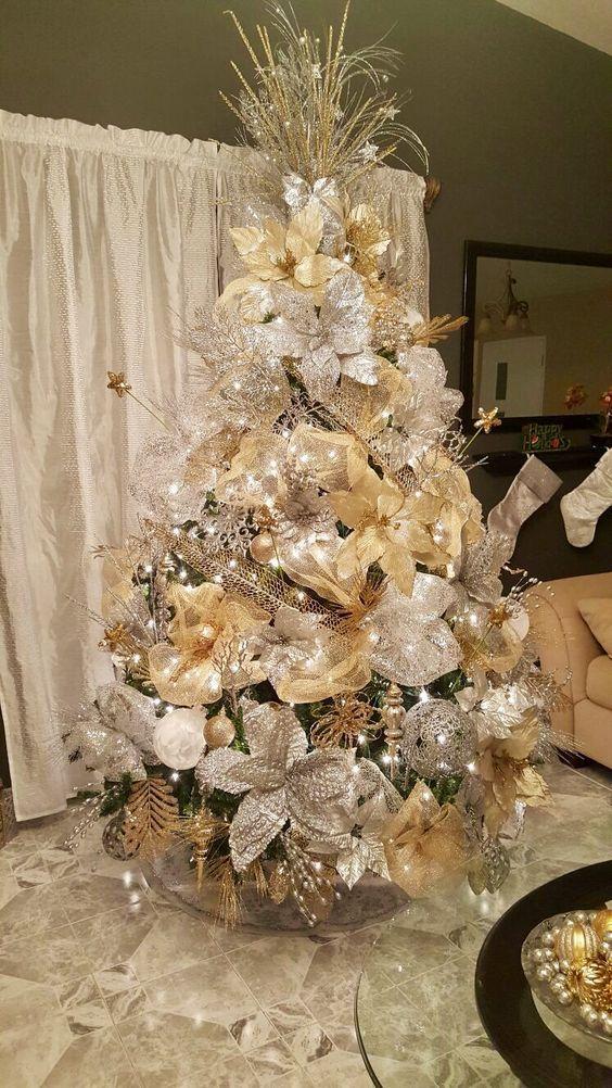 Como Decorar Un Arbol De Navidad Con Malla Y Flores Arbol De Navidad Plateado Arbol De Navidad Dorado Arbol De Navidad Rosado