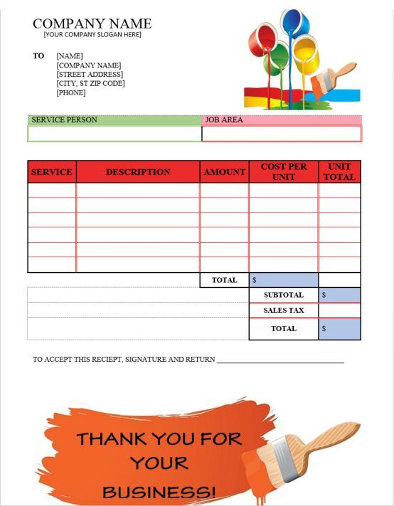 A Printable Invoice For Use By A House Painter Or Company