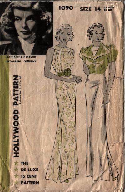 Hollywood 1090. This is great that there's a Katherine Hepburn pattern.