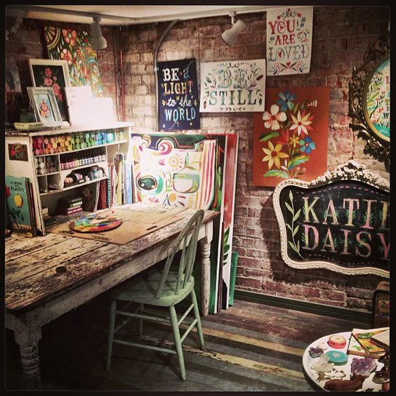 GORGEOUS!!! Katie Daisy's Handlettering studio. Can I have one just like it?: