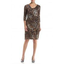 Robe Tahari imprimée léopard attachée à la taille à manches trois quarts