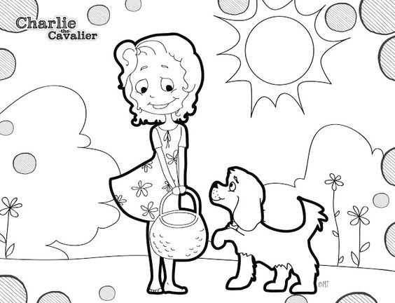 sunny day coloring pages - charlie the cavalier and lilly sunny day coloring page