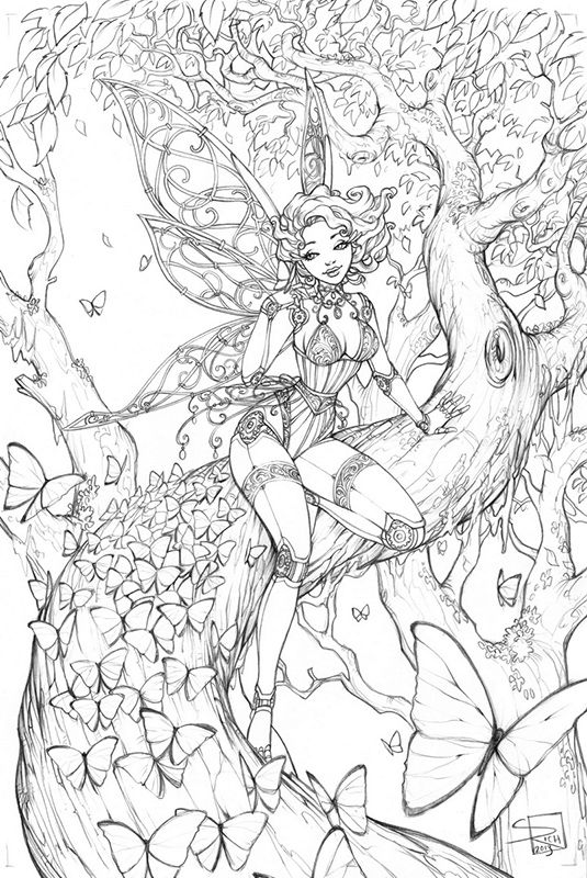 Adult Fairy Coloring Pages 20