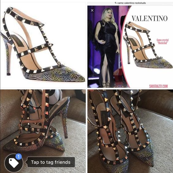 Valentino rock studs There is no stones missing they was worn once they are a 7 1/2 they are like army print online they was $1400 Valentino Shoes Heels