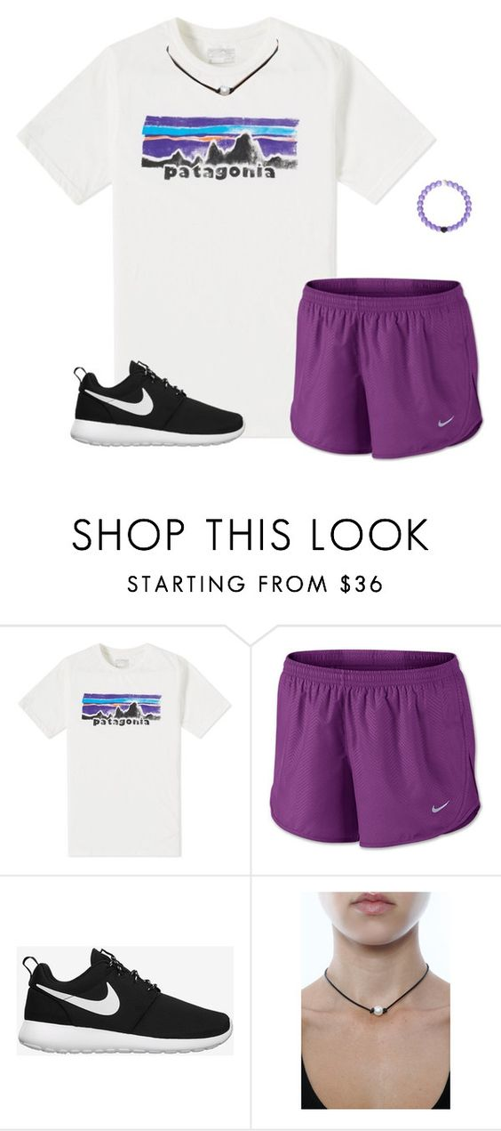"""""""Chilling out/ I got the purple lokai bracelet!!"""" by moseleym ❤ liked on Polyvore featuring Patagonia, NIKE, MGEMS, women's clothing, women, female, woman, misses and juniors"""