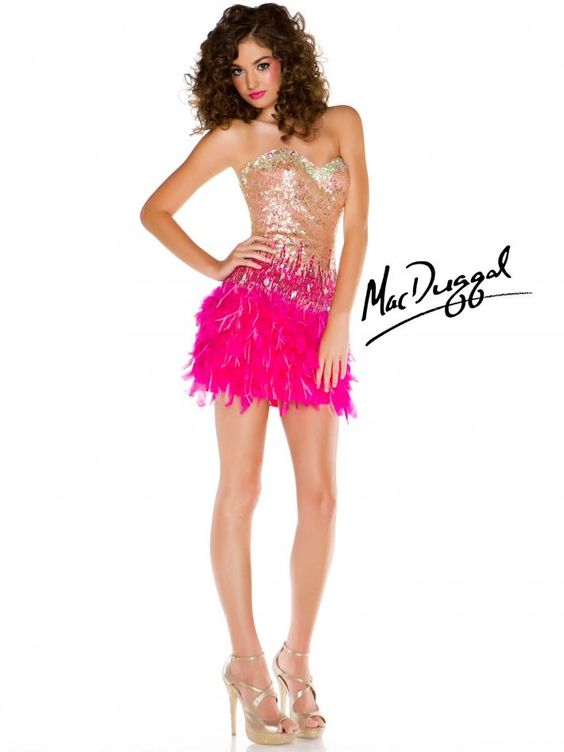 MAC DUGGAL short strapless gold and hot pink cocktail dress &lt3 ...