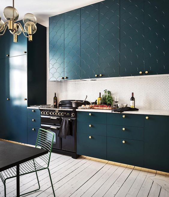 Jewel Tone Interiors | Teal kitchen cabinets, Teal kitchen and ...