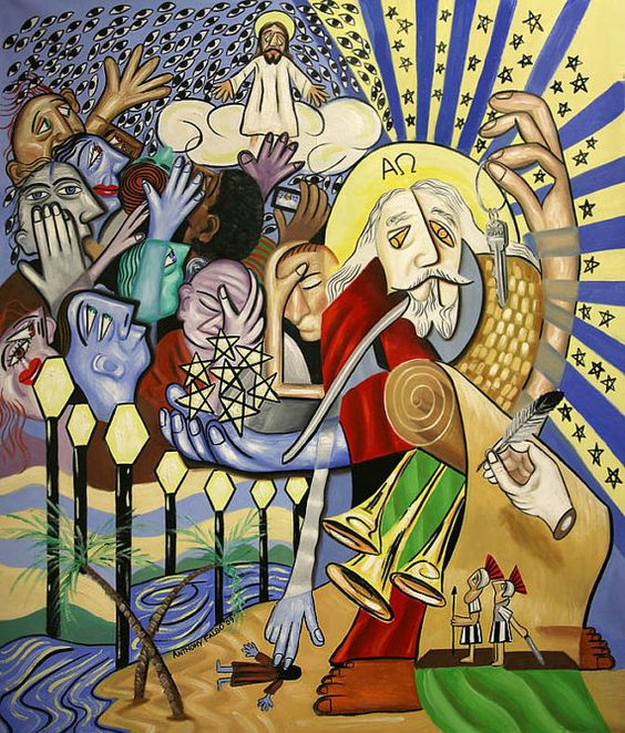 Revelation Chapter 1 Giclee Fine art Canvas Print Cubism Jesus Anthony Falbo