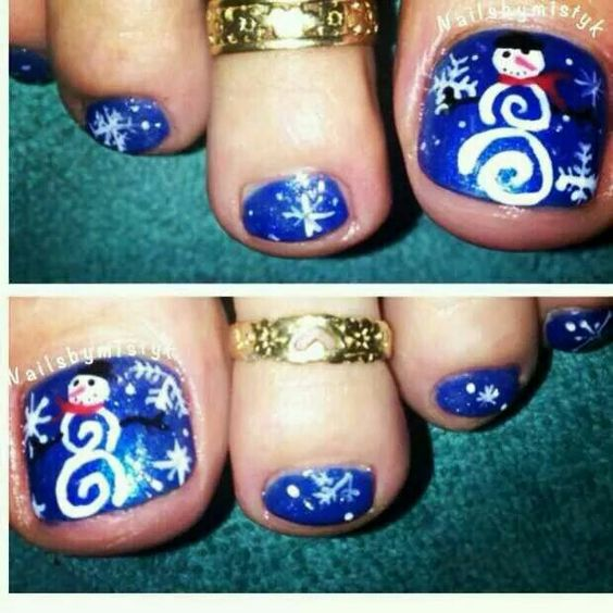 Toe Nail Art Holidays: Blue Christmas Toenails