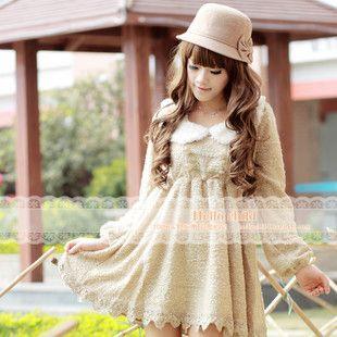 [Clara LIZ LISA] the original single-the domesticated hen knit imitation rabbit fur collar lapel lace long-sleeved dress special - Taobao