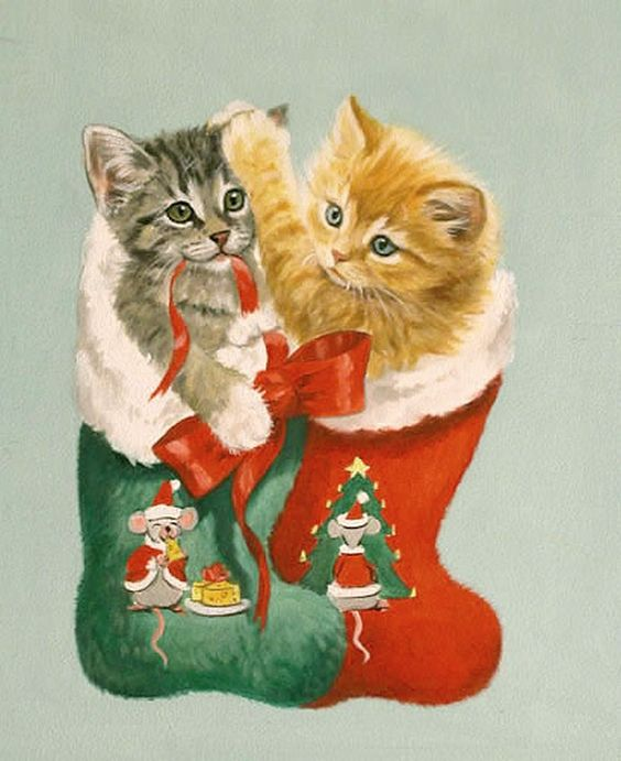 Linda Picken (b.1944) — Two Kittens in Stocking  (693x850):
