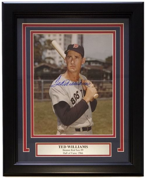 Featured is a Ted Williams autographed 8x10 photo. This photo has been professionally framed and matted and is approximately 11x14. This photo is certified by Steiner Sports and comes with their lette