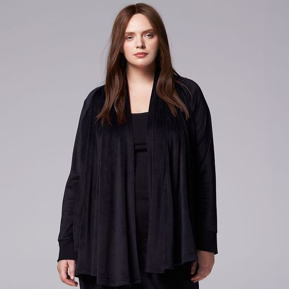Plus Size Simply Vera Vera Wang Pajamas: Catch Me Cozy Velour Sleep Wrap, Women's, Size: