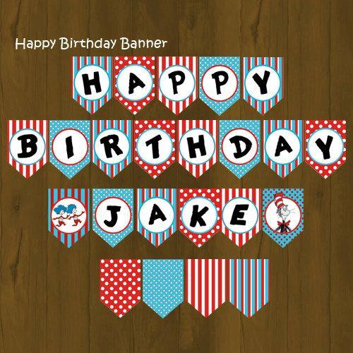 Cat Birthday Banner: Dr Seuss Printable Happy Birthday Banner