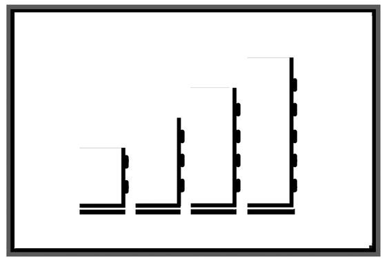 Diseño 4, blanco y negro. Simplificación de la forma mediante la eliminación de lineas laterales y superiores.
