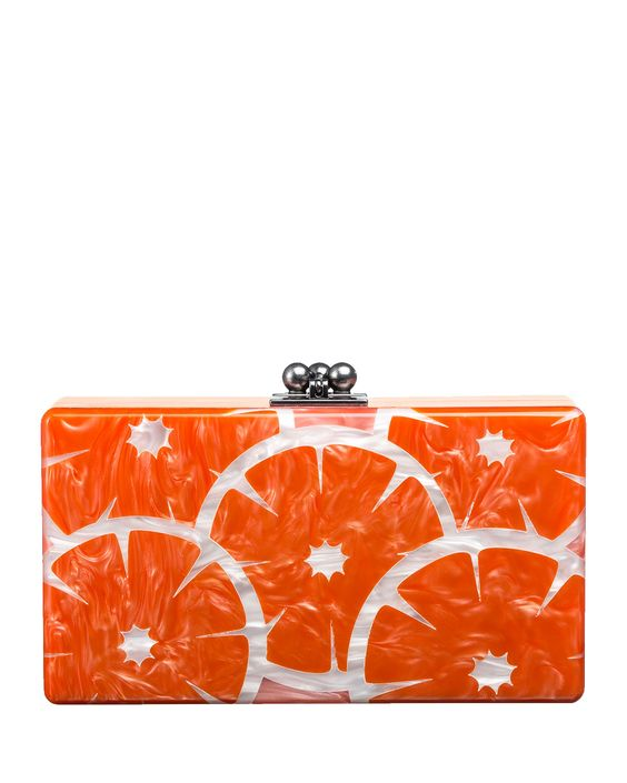 Edie Parker Jean Orange Slice Acrylic Clutch Bag - Neiman Marcus