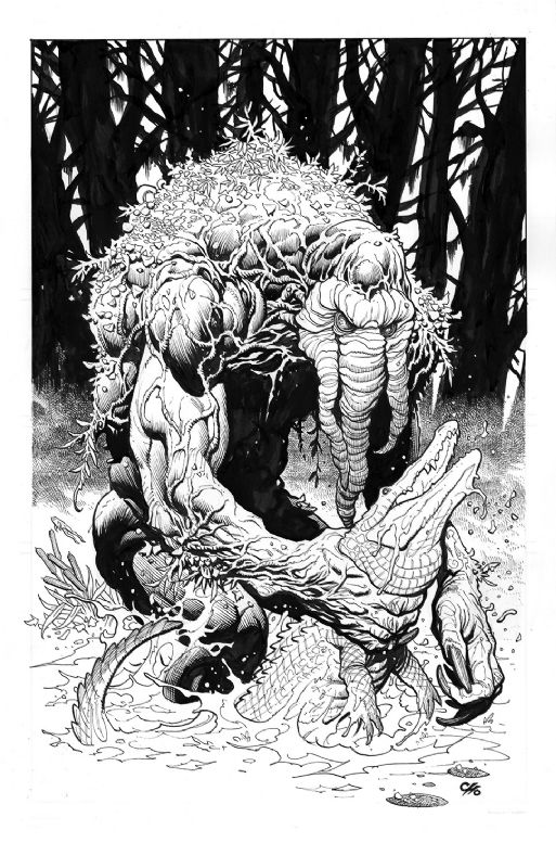Man Thing Vs Gator Artists Frank Cho Penciller Frank Cho Inker W B Frank Cho Superhero Coloring Pages Comic Art