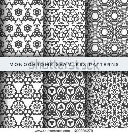vector dark monochrome decoration abstract geometric seamless patterns white…