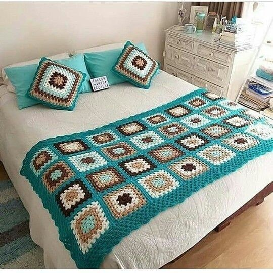 Pin Em Crochet Cama Mesa E Banho