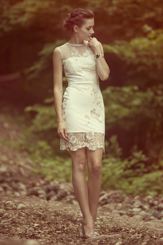 short ivory lace dress - Dress Yp